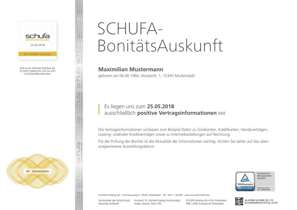 zertifikat - Schufa Auskunft Muster