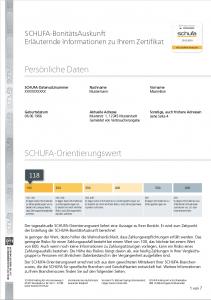 Beispiel für erläuternde Informationen einer positiven SCHUFA-BonitätsAuskunft